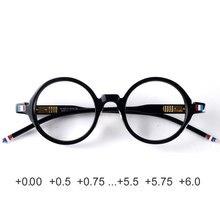 Круглые дизайнерские очки для чтения, мужские и женские антибликовые черные очки из ацетата с защитой от излучения