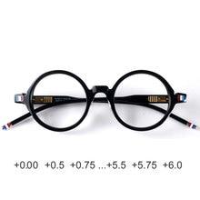 Round designer reading glasses men women anti reflective anti radiation acetate black