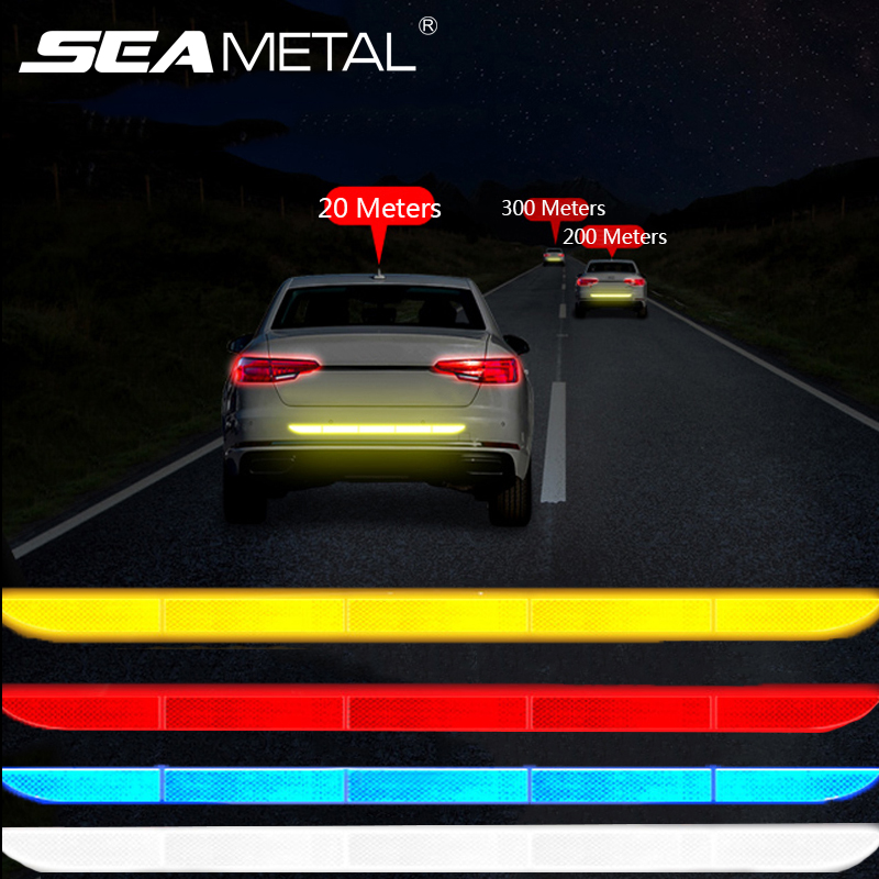 Car Sticker Warning Strip Tape Car Trunk Stop Signal Warn Auto Protective Sticker Reflector Safe Drive Exterior Auto Accessories