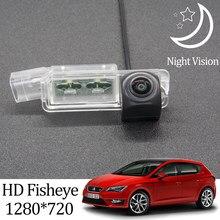 Owtosin câmera de visão traseira, hd 1280*720, olho de peixe, para seat, leon, mk3, 5f, 2012-2020, veículo reverso acessórios para estacionamento do monitor lcd