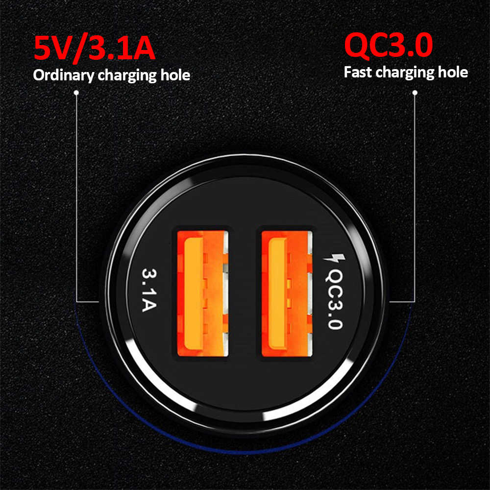 Cargador de coche USB doble de carga rápida 39W para Xiaomi mi 9 Huawei P30 Pro para carga de coche QC3.0 6A cargador de teléfono