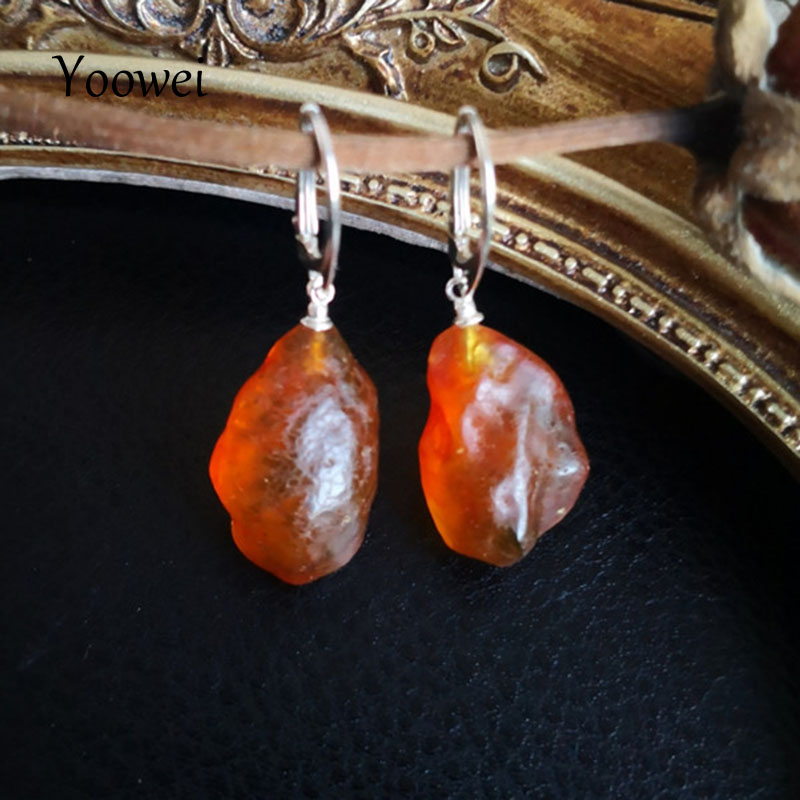 Yoowei New Amber Earrings for Women Wedding Special Gift 925 Silver Vintage Dangle Earring Baltic Natural Amber Jewelry Supplier