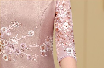 Elegant Lace Mother of the Birde Dresses 2019 Two Pieces Mermaid Full Sleeve Short Wedding Events Party Prom Women Dresses 5