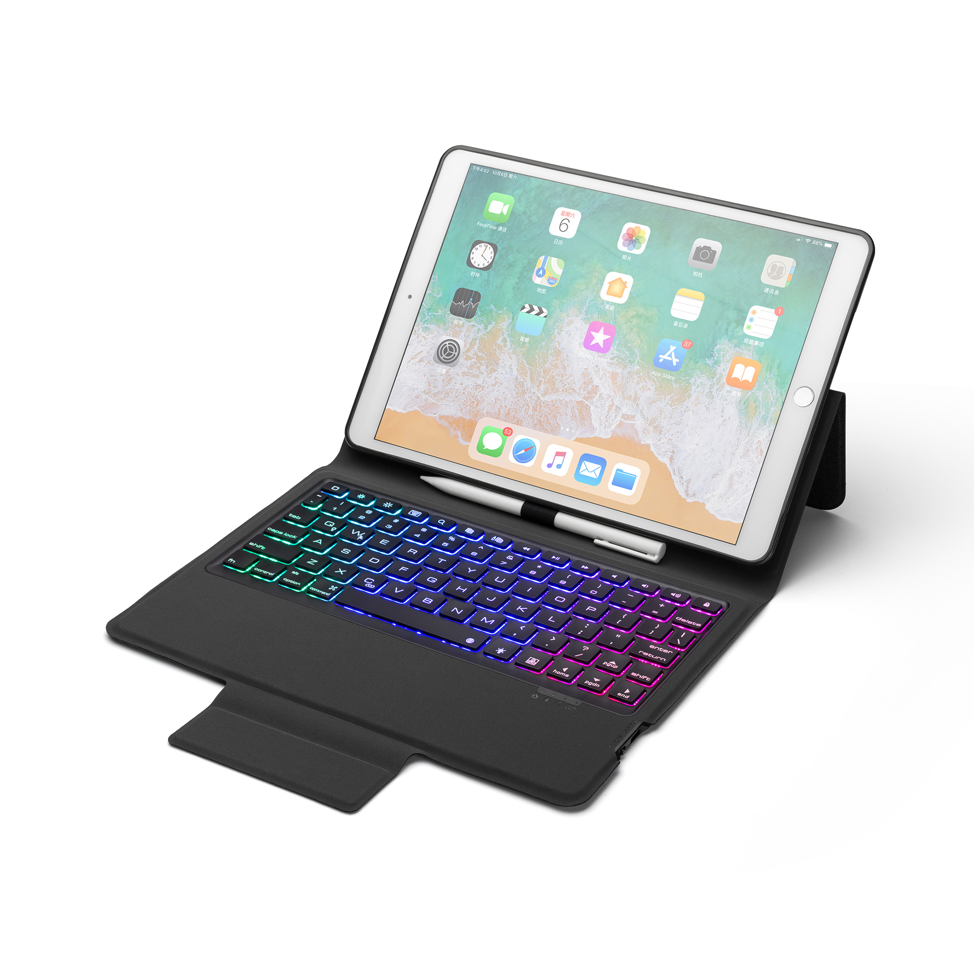 Wireless Bluetooth Keyboard Tablet Cases For IPad Pro 10.2 2019 Leather Cases With LED Backlight Cover For Apple IPad Pro 10.2
