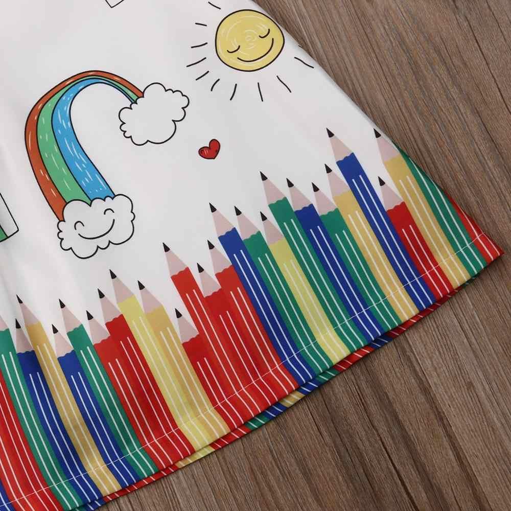 חמוד בייבי ילדים ילדה שמלת קיץ בגדי קריקטורה הדפסת לטוס שרוול נסיכת טוטו שמלות פעוט תינוק חג המולד המפלגה תלבושות 0-5Y