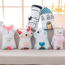 цена на Lovely Cartoon Animal Plush Pillow Stuffed Fox, Cow, Cat, Bear Anime Plush Toys Kids Children Cute Kawaii Doll Gift Soft Cushion