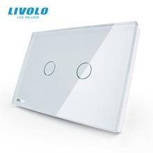 LIVOLO UNS standard Wand Touch Licht Schalter, AC 110 ~ 250V, Elfenbein Weiß Glas Panel, 2 gang 1way, VL C302 81