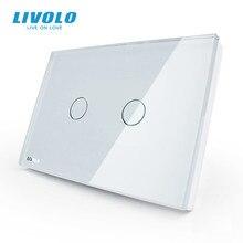 Livolo米国標準ウォールタッチライトスイッチ、ac 110 〜 250v、アイボリーホワイトガラスパネル、 2 ギャング 1way、VL C302 81