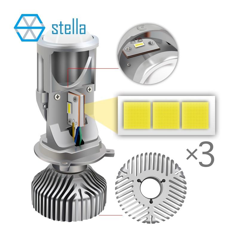 2pcs H4 LED hi-lo mini projector lens headlight for car clear beam pattern 12V 5500k no astigmatic problem lifetime warranty