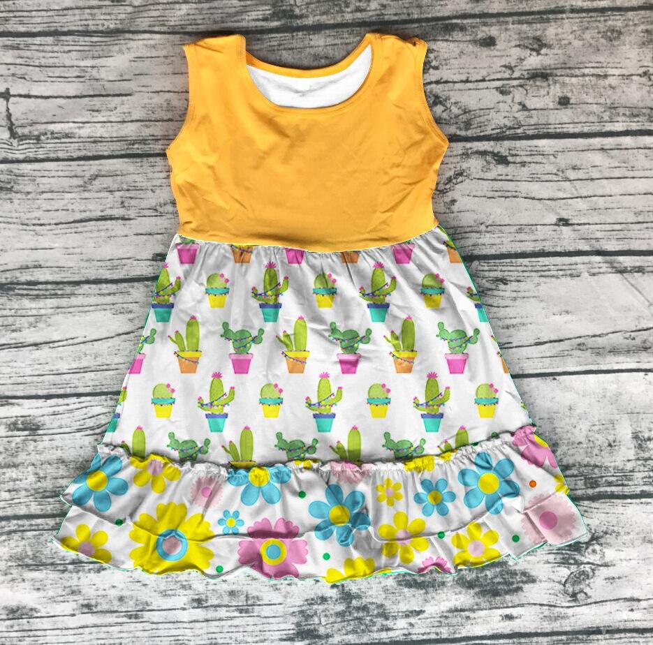 Primavera Verano Niñas Ropa cactus amarillo mostaza flor floral leche seda algodón vestido bebé niños ropa volantes rodilla vestido