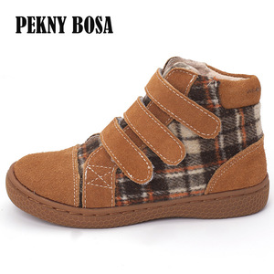Image 3 - PEKNY BOSA Brand kid plaid ankle boots children Genuine Leather barefoot shoes spring autumn high top toddler girl and boy shoes