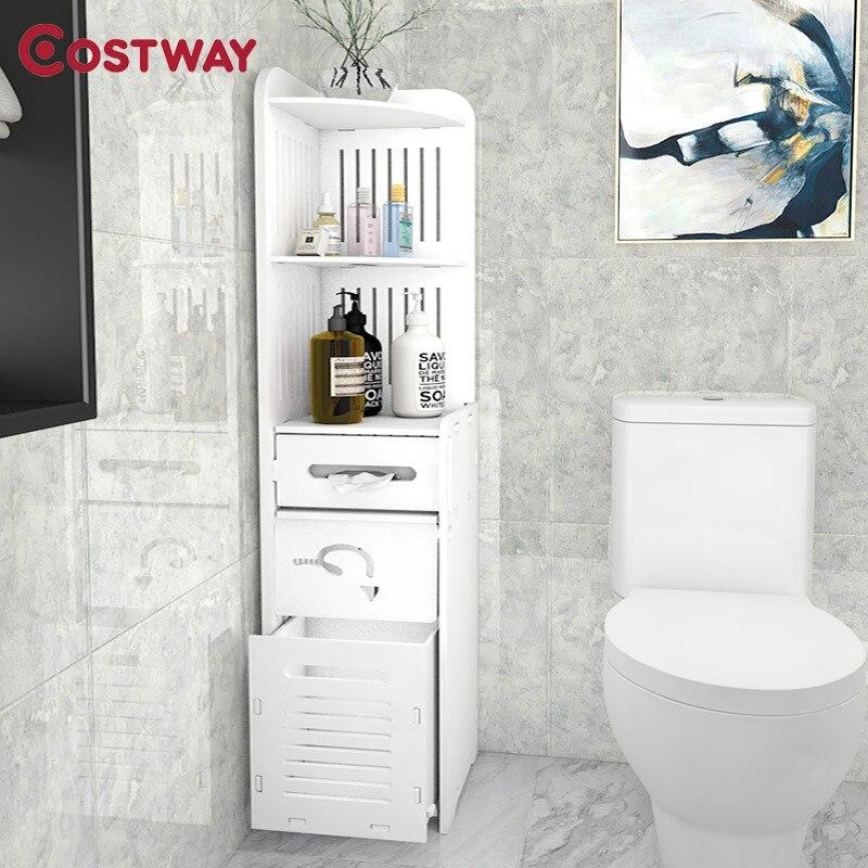 COSTWAY 3-Layer Floor Type Toilet Rack Storage Shelf Holders Racks Saving Space For Bathroom Organizer Estanteria Mensole W0544