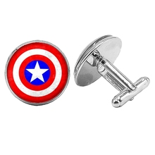 New Movie Surrounding Superman Shield Bat Silver Cufflinks Gothic Glass Convex Round Mens To Send Gift Jewelry