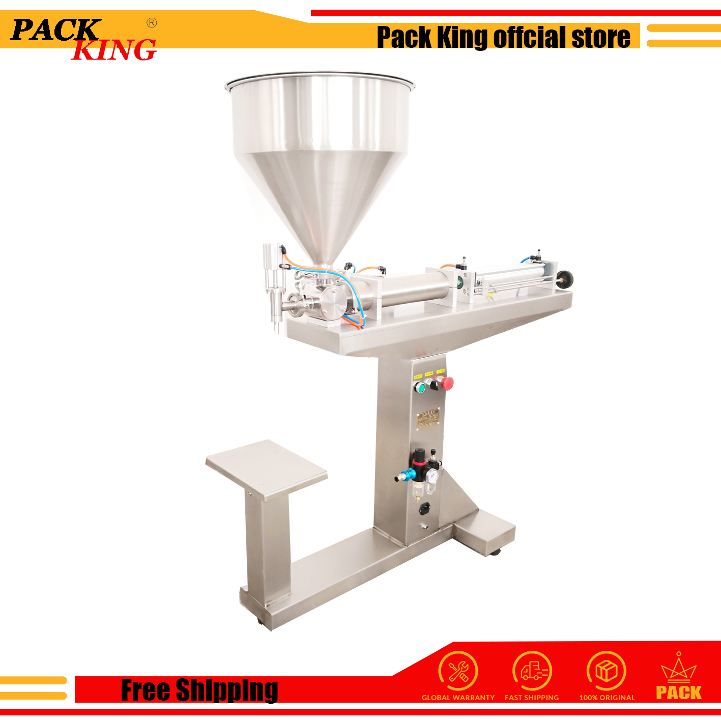 Stand Shampoo Lotion Cream Yoghourt Honey Juice Sauce Gel Filler Paste Filling Machine Pneumatic Piston Filler Standing Table