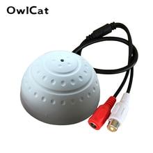 OwlCat אודיו ניטור מיקרופון קול טנדר מיקרופון עבור טלוויזיה במעגל סגור מעקבים אבטחת IP מצלמה נבנה Preamp Wired קול