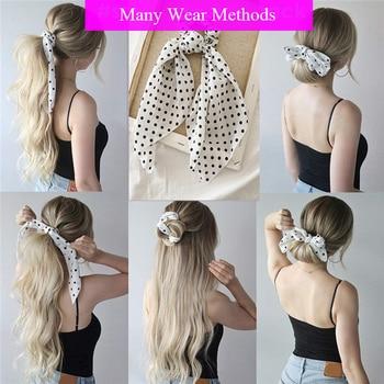 Polka Dot Print Lange Streamer Scrunchies Bowknot Elastische Haar Bands Süße Frauen Haar Seil Krawatten Haar Zubehör Mädchen Headwear