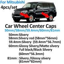 4 pces 50mm 58mm 60mm 81mm centro da roda emblema do carro tampões do cubo para mitsubishi lancer 10 9 ex eclipse galant outlander