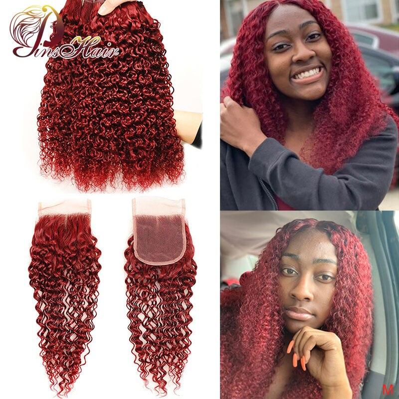 Pinshair 99J Curly Bundles With Closure Burgundy Bundles With Closure Peruvian Human Hair Weave Bundles With Closure Non-Remy