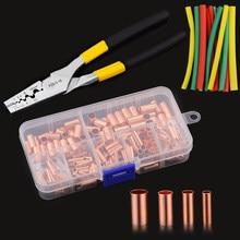 250個gt銅接続管ワイヤージョイント小さな銅管端子ケーブルラグ直径1.5-16ミリメートル熱収縮チューブプライヤー