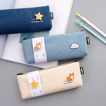 Kawaii Large capacity canvas pencil case with cartoon badge cute  pen pouch pencil bag for girl gift school supply stationery j26 kawaii cute moomin canvas pen bag pencil holder storage case school supply birthday gift cosmetic makeup travel