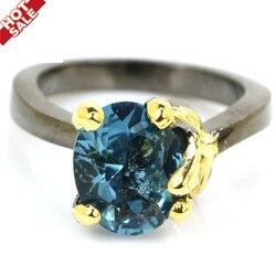 13x11 мм возвышенного Античная Vinage создала Лондон Голубой топаз New Stone иолит подарок для женщины Цвета: черный, золотистый, Серебристый кольца