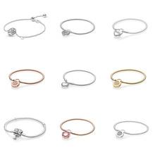 sa silverage 925 sterling silver round bracelets 925 Sterling Silver Bracelets Charms Diy Heart Flower Crystal Round Buckle For Women Diy Bracelets Size 16 17 18 19 20