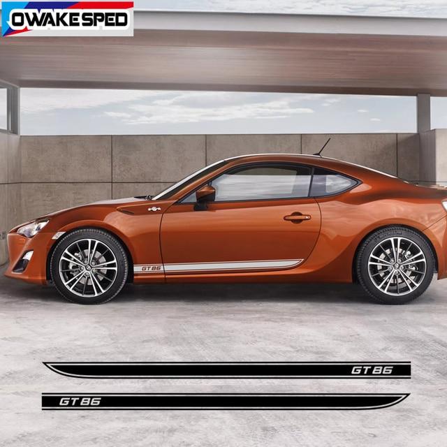 سيارة الباب الجانب تنورة ملصقا السيارات الجسم ديكور الفينيل الشارات الملحقات الخارجية ل Toyota 86 GT سباق الرياضة المشارب