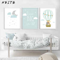 Animal Balloon Moon Nursery Poster Wall Art Canvas Print Dream Big Quotes Painting Nordic Kid Baby Bedroom Decoration Picture