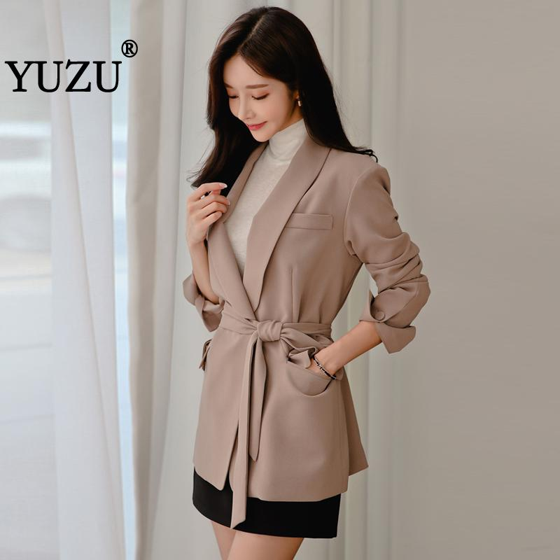 Womens Blazer Casual Office Long Sleeve Sashes Jacket Dark Pink Notched Outerwear England Style Solid Cardigan Tops