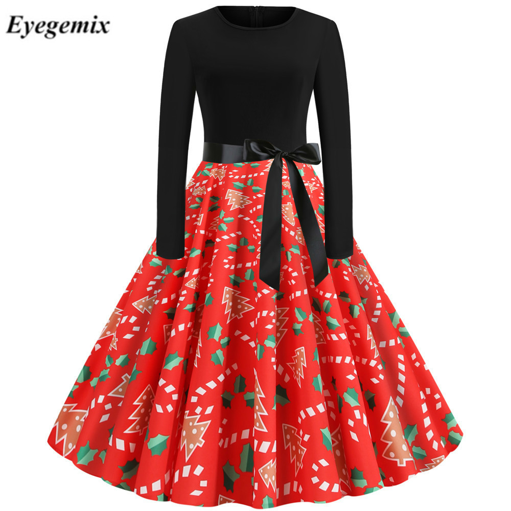 Red Christmas Dress Women Floral Print Slim Vintage Dress Casual Long Sleeve Elegant Midi Party Dresses Swing Vestido Robe Femme