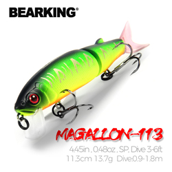 Приманка для горячей рыбалки Bearking, 11,3 см, 13,7 г, качественная профессиональная блесна приманка, плавающая, соединенная с крючком, черного или ...