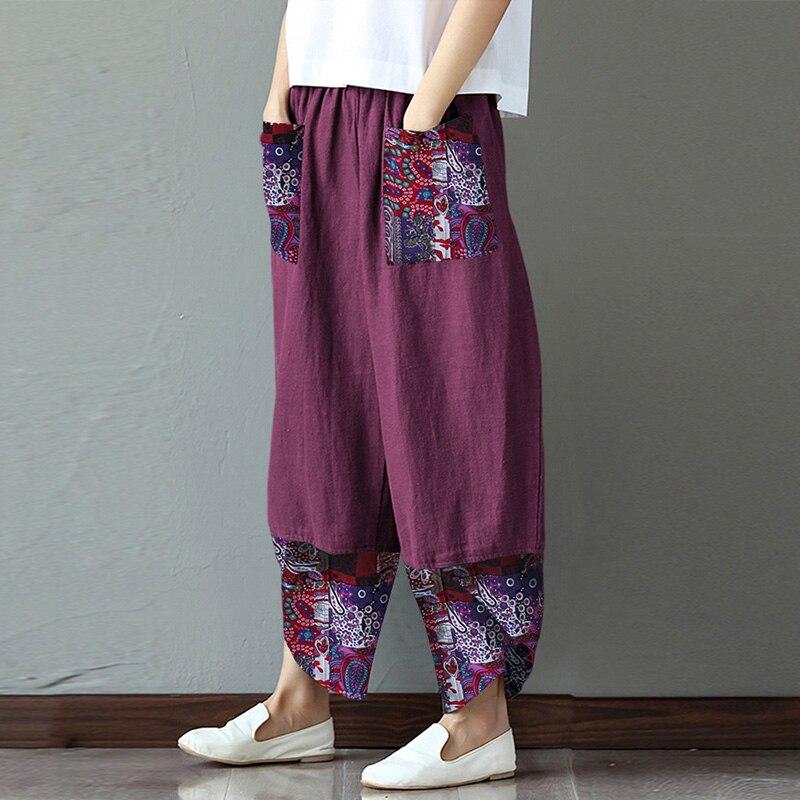 ZANZEA Vintage Women Harem   Pants   Summer Elastic Waist   Wide     Leg     Pants   Casual Loose Patchwork Pantalon Floral Printed Trousers