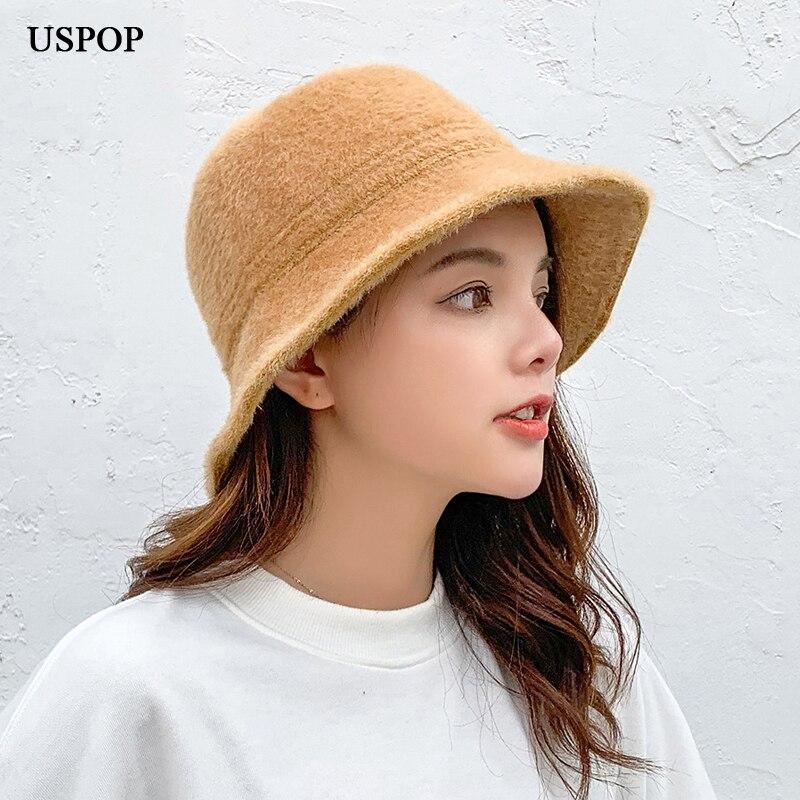 USPOP 2019 new fashion bucket hats women solid color warm female winter hat