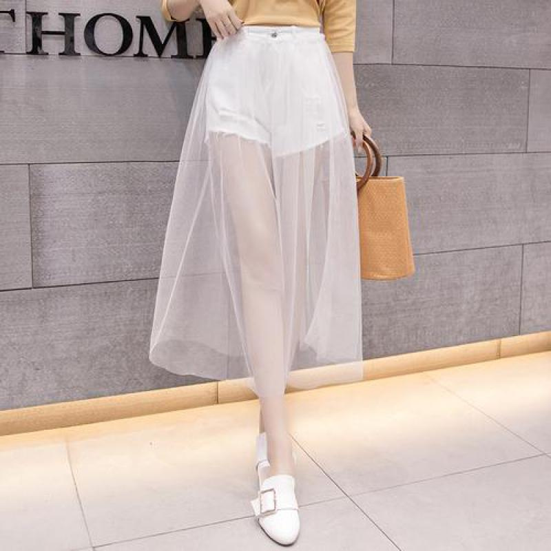 Fashion Women Streetwear Big Size White Denim Shorts 2020 Spring New Woman High Waist  Mesh Patchwork Slim Cowboy Shorts