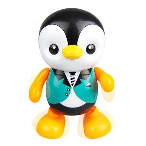 Forma de pingüino de baile colorido hogar eléctrico regalo para niños luz LED Musical portátil de plástico lindo canto Juguetes