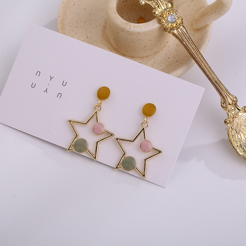 Candy Color Hollow Out Pentagram Star Drop Earrings For Women Dangle Earring Fashion Jewelry Female Pendiente Brincos