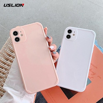 USLION Solid Color Straight Edge Phone Cover For iPhone 12 11Pro Max X XR XS Max 7 8 7Plus Shockproof Soft Silicone TPU Case image