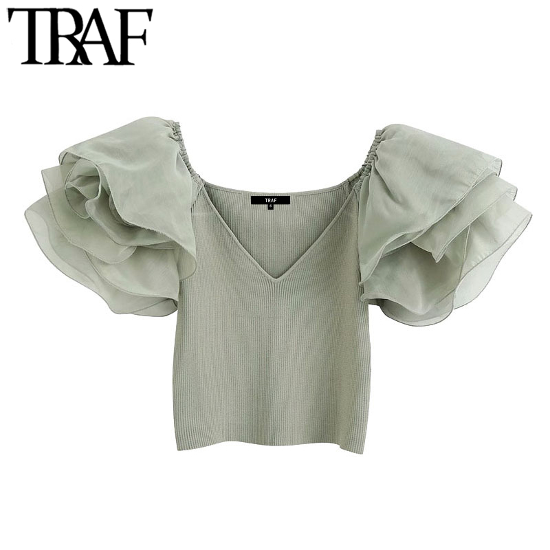 TRAF Women Fashion With Organza Knitted Cropped Blouses Vintage See Through Sleeve Stretch Slim Female Shirts Chic Tops