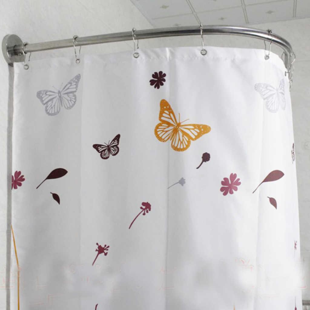 1 Set Extendable Corner Shower Curtain Rod Pole 31 47inch Rail Rod Bar Bath Door Hardware Heavy Loaded Stainless Steel