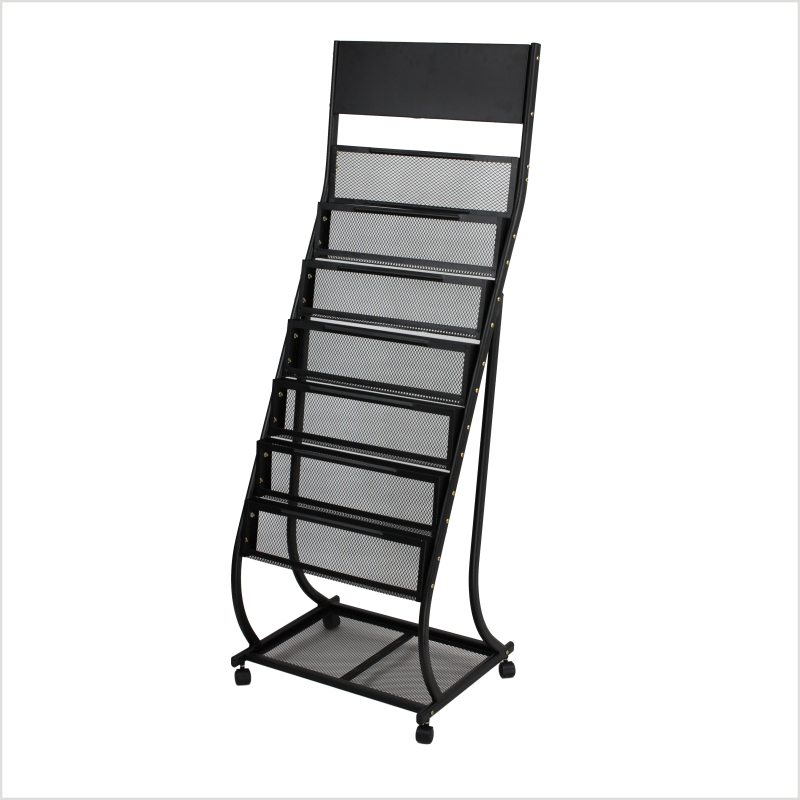 Information Rack C-style Magazine Newspaper Shelf Newspaper Storage Rack Office Propaganda Rack Floor Display Stand