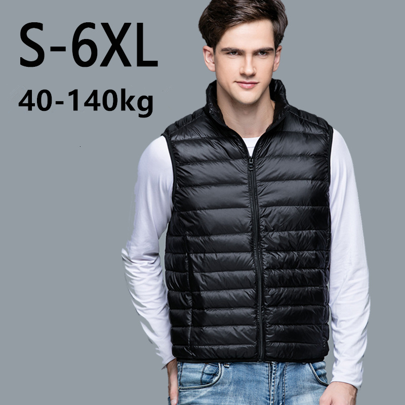 Mens Warm Duck White Down Vest Ultra Light Loose Jackets Men Fashion Sleeveless Outerwear Coat Autumn Winter Waistcoat Plus Size