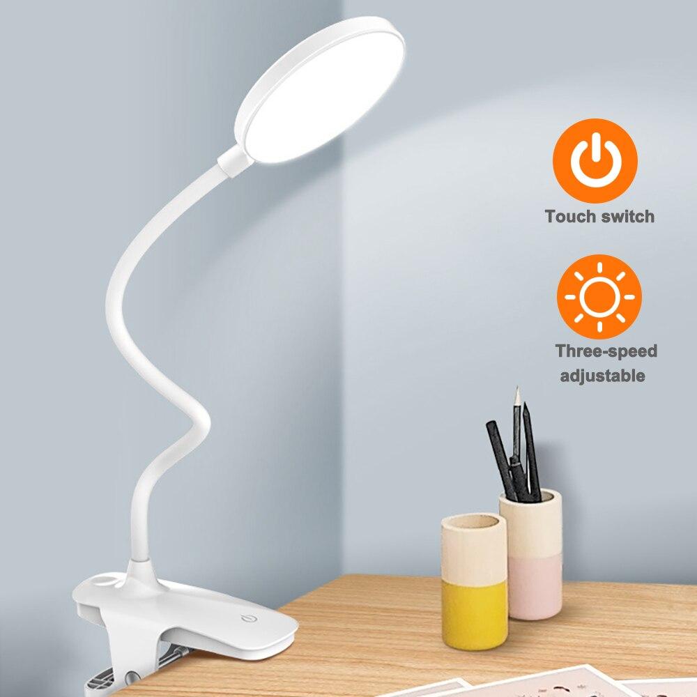 Lâmpada de mesa led lâmpada de toque clipe estudo lâmpadas lupa gooseneck desktop usb recarregável proteção para os olhos cabeceira mesa luz