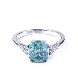Tianyu gemmes coussin 7x8mm bleu vert blanc Moissanite bague de mariage 1.5ct mode cadeaux en argent à la mode diamant bijoux pour les femmes