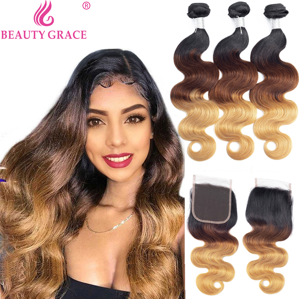 T1b/4/<font><b>27</b></font> Honey Blonde Body Wave <font><b>Bundles</b></font> <font><b>With</b></font> <font><b>Closure</b></font> Ombre Human Hair <font><b>Bundles</b></font> <font><b>With</b></font> <font><b>Closure</b></font> Brazilian Hair Weave <font><b>Bundles</b></font> non-remy image