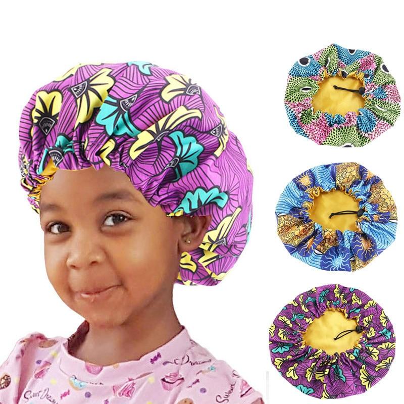Boné de cabelo cetim, chapéu grande com estampa de cabelo, acessórios africanos, para crianças