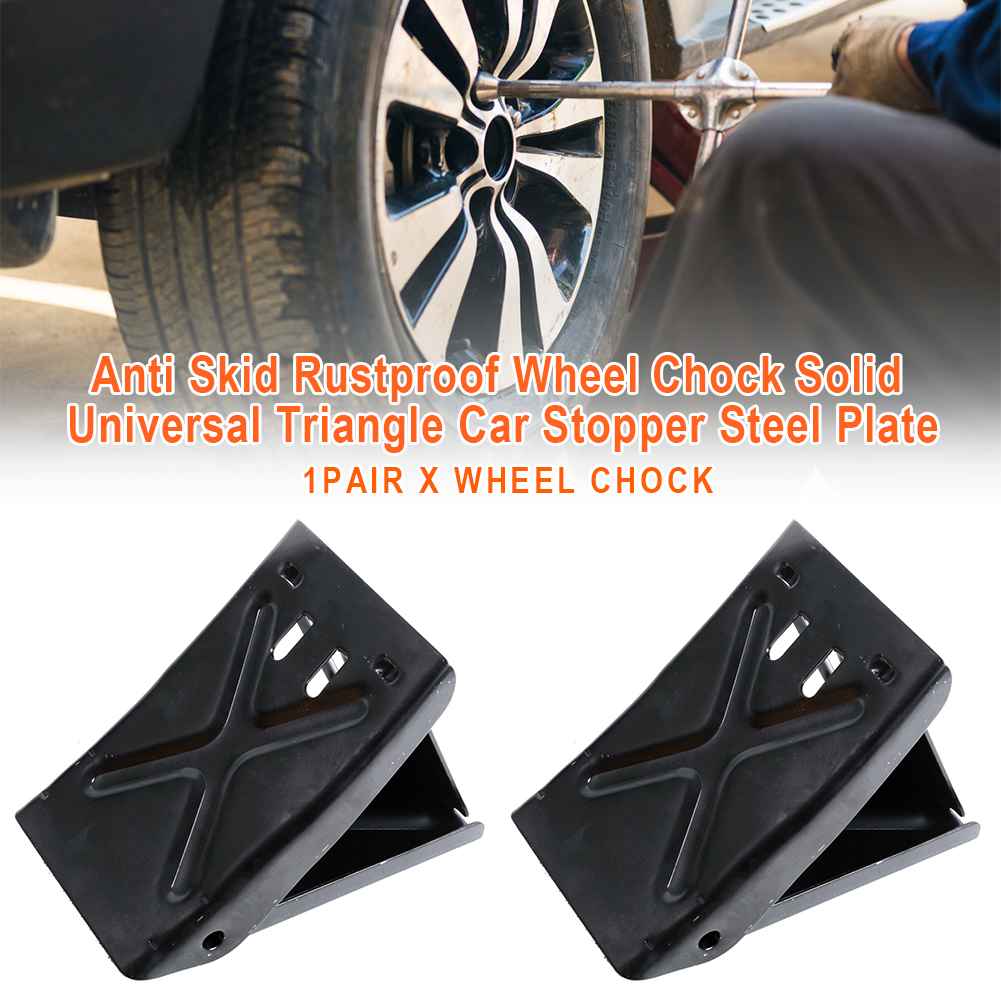 Solid Reverse Pad Universal Triangle Anti Skid Tire Parking Wheel Chock Locator Rustproof Steel Plate Car Stopper Black