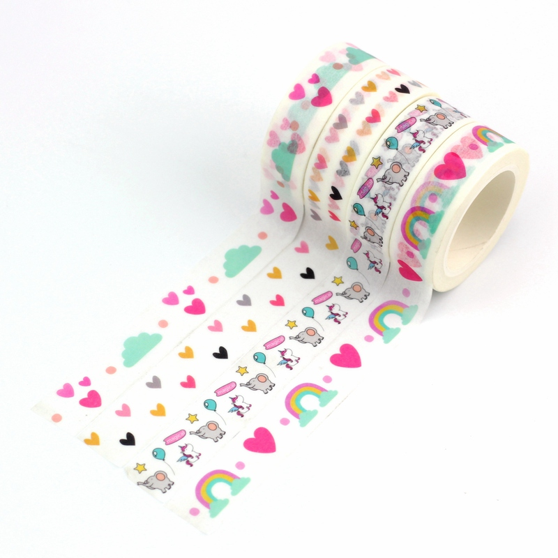 10m Decor Cute Japanese Paper Washi Tape Hearts Rainbow Clouds Elephant Pink Set DIY Planner Masking Tape School Office Supplies