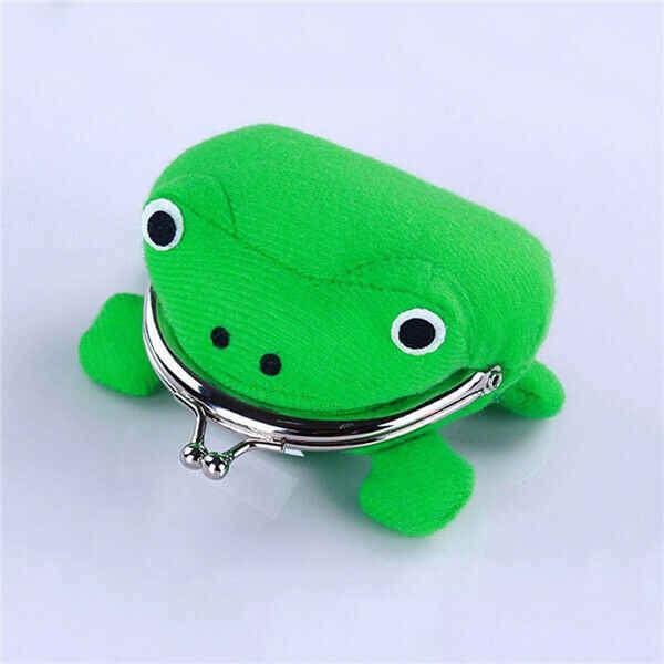 Nueva forma de rana encantadora Cosplay bolsa de animales verdes monedero billetera suave de felpa monedero regalo cartera inteligente Mini Delgado carpeta de la tarjeta