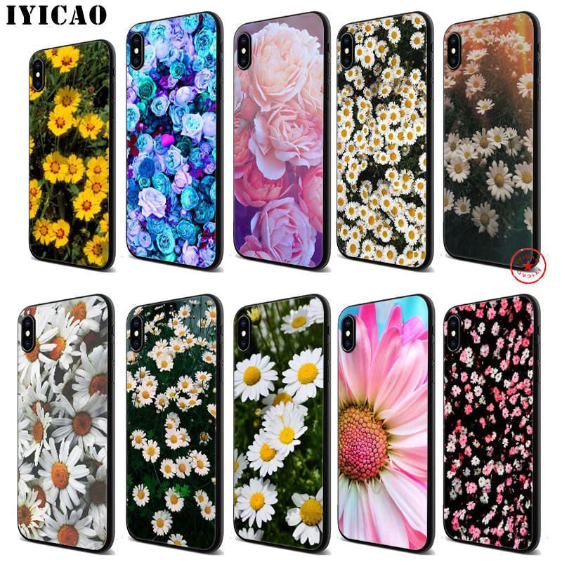 IYICAO Daisy Peony Flowers Soft Black Silicone Case for iPhone 11 Pro Xr Xs Max X or 10 8 7 6 6S Plus 5 5S SE