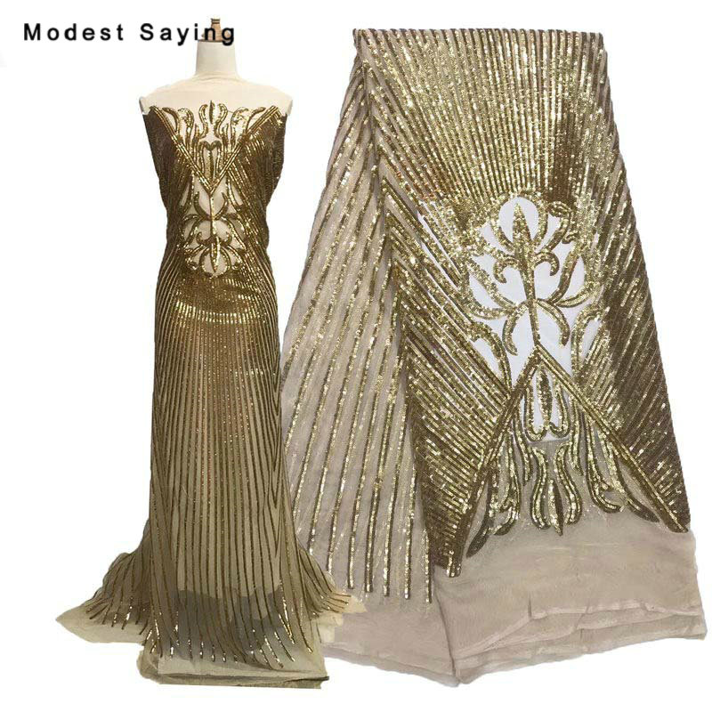 High Quality 5 Yards Gold Sequins Fabric For Evening Dresses Wedding Party Embroidered Mesh Cloth Nigerian Net Lace Material